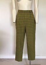 Women's Vintage Green Check Plaid High Waist Trousers Pants S/M