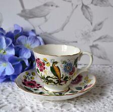 Vtg Staffordshire Crown Floral Exotic Bird Tea Cup & Saucer set, bone china
