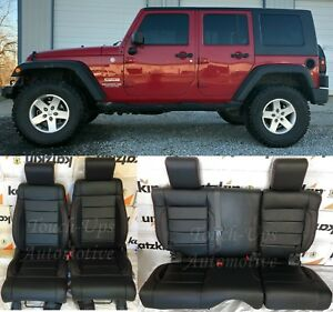 2008 2009 2010 Jeep Wrangler Leather Seat Covers Kit Black Salsa Red 4 Door TEST