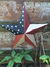 "PRIMITIVE METAL BARN STAR AMERICANA 24 INCH 24"" COUNTRY AMERICAN FLAG STAR RUST"