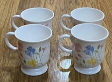 Vintage Anacapa Melamine Ware Pink Yellow Purple Flowers Coffee Cups - Set Of 4