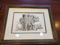 Andrew Bone Original Pencil Drawing Leopard in Tree Confirmed by Artist!!
