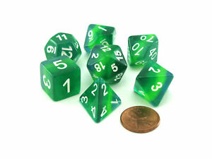 Polyhedral 7-Piece Layered Dice Set - Shades of Green