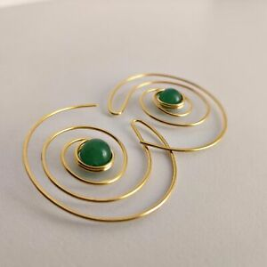 105 Earrings Bronze Gold Plated Jade 28 A