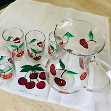 Vtg Set 5 Red HANDCRAFTED Clear JUICE GLASSES Cherries PITCHER ME Style USA