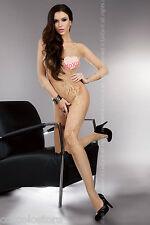 LivCo Corsetti Fashion Khryseis Beige Bodystocking Tuta Intera in Rete Ricamata