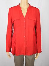 INC Womens Red Tab-Sleeve Button-Down Shirt Blouse Top M