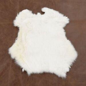 Rabbit Fur Pelt White/Off White Genuine Leather Soft