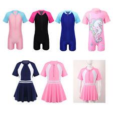 Girls One-Piece Swimwear Zipper Front Short Sleeve Dress Swimsuits Swimming Suit