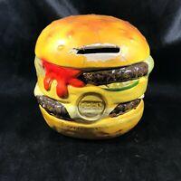 Vintage Ceramic Coin Piggy Bank CARA CREATIONS Cheese Burger