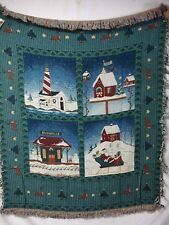 USA Made NWT Christmas Collage Tapestry Throw Blanket Afghan #326