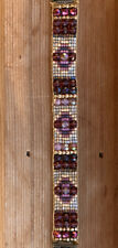 Antique Brass Garnet Pearl Shell czech beaded bracelet Sundance Inspired