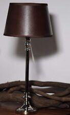 Tischlampe Tischleuchte Silber Braun Leder-Optik Landhaus 44 cm E 27 A++ Neu