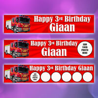 2 x Personalised Birthday Fire Engine Banners Photo Option
