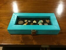Rock, gem, shell, & artifact display case for any age!!! Color: Turquoise