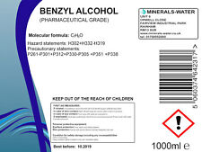 1000ml Benzyl alcohol-pharmaceutical grade•PH Eur•pure•preservative•disolvent