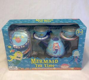 Schylling Mermaid 15 Piece Tin Tea Set Tea Pot with Lid 4 Cups 4 Plates Saucers