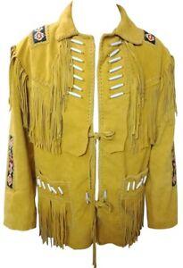 Men's Western Native Indian Suede Leather Jacket, Fringe, Bones and Beads