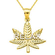 """RELAX"" Marijuana 10k Yellow Gold Pot Weed Cannabis Leaf Script Pendant Necklace"