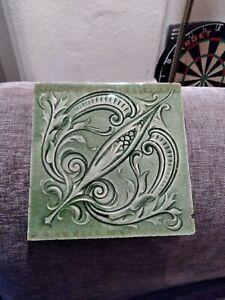 Antique Victorian Art Nouveau Craven Dunnhil &Co Tile Circa1880's