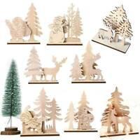 Christmas Wooden Elk Santa Claus Snowman Xmas Party Ornament Table Decor DIY Set