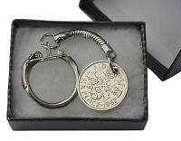 COIN KEYRING - BRITISH SIXPENCE KEYRING CHOICE OF YEAR 1920-1967 BIRTHDAY