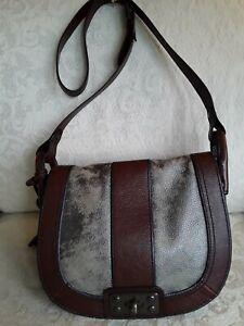 Fossil Metallic Leather Brown Trim Crossbody Purse Saddle Bag Style Key Charm