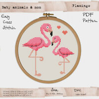 Baby Flamingo with mom Embroidery Cross stitch PDF Pattern #254