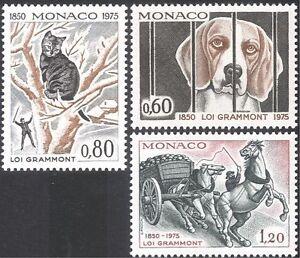 Monaco 1975 Dogs/Cats/Horses/Animals/Nature/Protection/Pets 3v set (n33857)