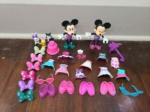 Disney Junior Minnie's Bowtique Snap 'n Pose Style Dolls and Clothes lot
