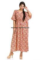 New Paisley kaftan PlusSize Long length Women dress Boho Cotton Caftan Gown Maxi