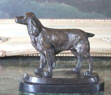 English Cocker Water SpanieL Bronze Marble Dog Statue Figurine Collectible Art