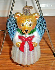 OWC Teddy Bear Angel w/Red Bow Glass Christmas Ornament