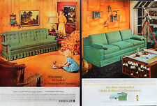 Vtg 1962 retro Kroehler Simmons green sofa bed 2 page advertisement print ad art