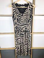 Gerard Darel Black & Taupe Pure Silk Animal Print Dress Size 40 / UK 12 VGC