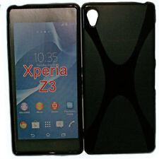X-Rubber Silikon TPU Handy Cover Schwarz + Displayschutzfolie für Sony Xperia Z3