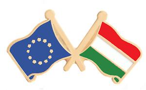 Hungary & European Union EU Flag Friendship Courtesy Gold Plated Pin Badge