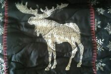 1 MOOSE BEAR Queen QUILT + 2 PILLOW SHAMS cabin LODGE Gray red COTTAGE COUNTRY