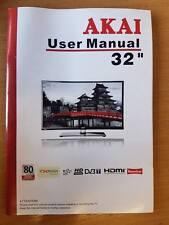 """GENUINE ORIGINAL AKAI 32"""" DIGITAL LCD TV USER GUIDE MANUAL"""