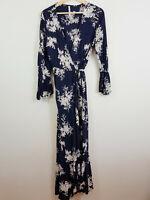 INDIKAH | Womens Maxi Print wrap Boho Dress  [ Size AU 12 or US 8 ]