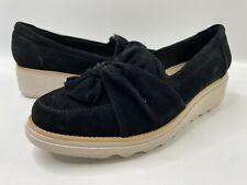 Clarks Womens Sz 8 Sharon Dasher Black Suede Wedge Slip On Shoes EU 39