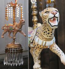 Porcelain Carousel Cheetah Lamp Swag Chandelier Vintage African Topaz