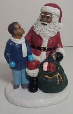"""African American Christmas Santa & Boy Figurine with toy gift sack 5.25"""" x 3.75"""""""