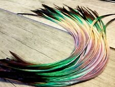 Feather hair extensions cool waters black ombre multi tone premium quality beads