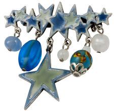 NEW PILGRIM DENMARK SILVER PLATED ENAMEL STARS BEADS BLUE BROOCH / PIN HANDMADE