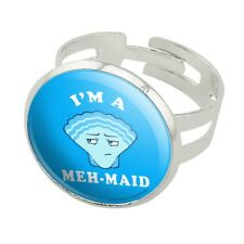 I'm a Meh-Maid Funny Humor Silver Plated Adjustable Novelty Ring