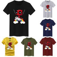 Deadpool Riding Unicorn Rainbow Funny T-Shirt Marvel Movie Comics Parody T-Shirt