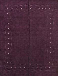 New Bordered Handmade Contemporary Purple Modern 9x12 Gabbeh Oriental Area Rug