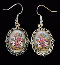 Alice Wonderland PLAYING CARDS ROSES Tenniel Antique Silver Drop Earrings Cute