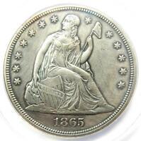 1865 Seated Liberty Silver Dollar $1 - ANACS XF45 Detail (EF45) - Civil War Coin
